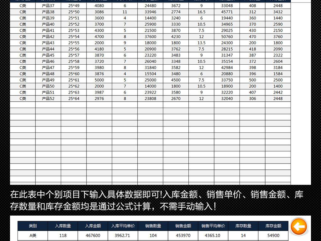 excel库存表格模板_出入库库存统计汇总分析报告 表格