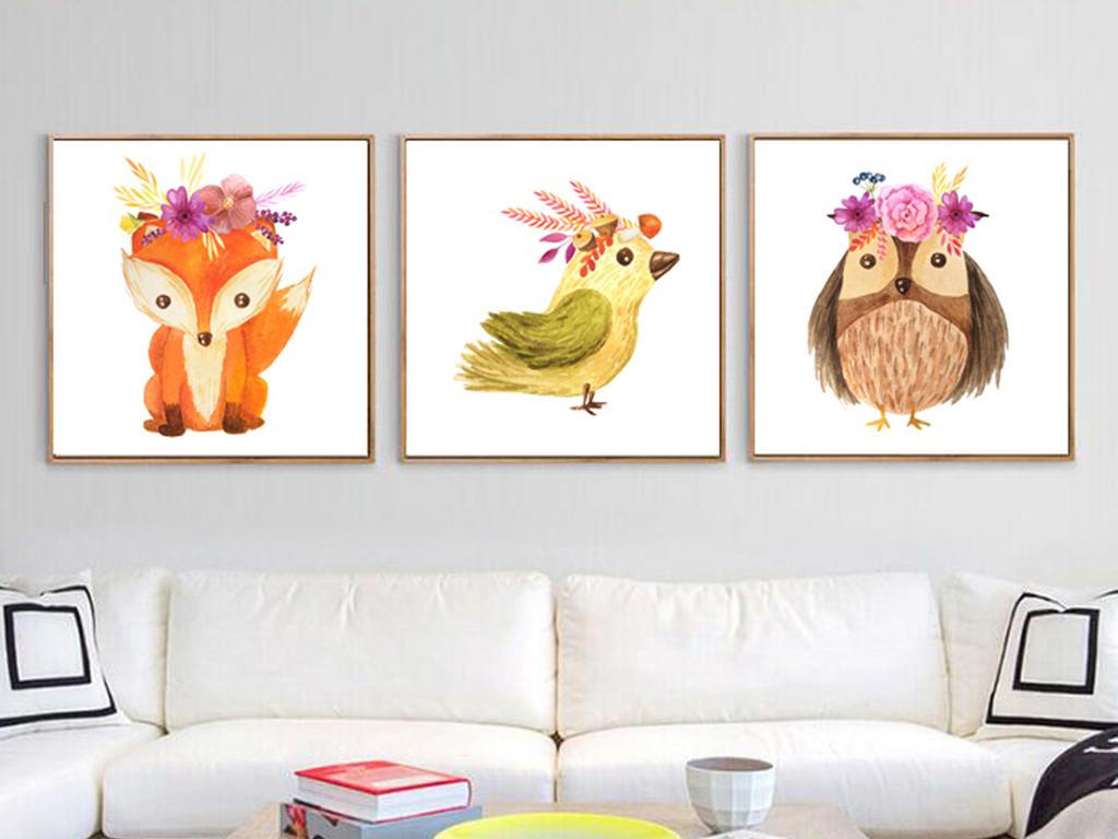 现代简约可爱动物装饰画四联无框画