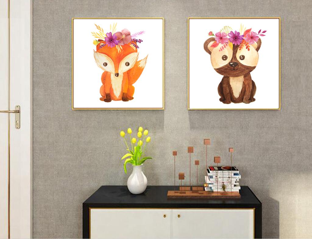 现代简约北欧可爱动物装饰画图片设计素材_高清模板(.