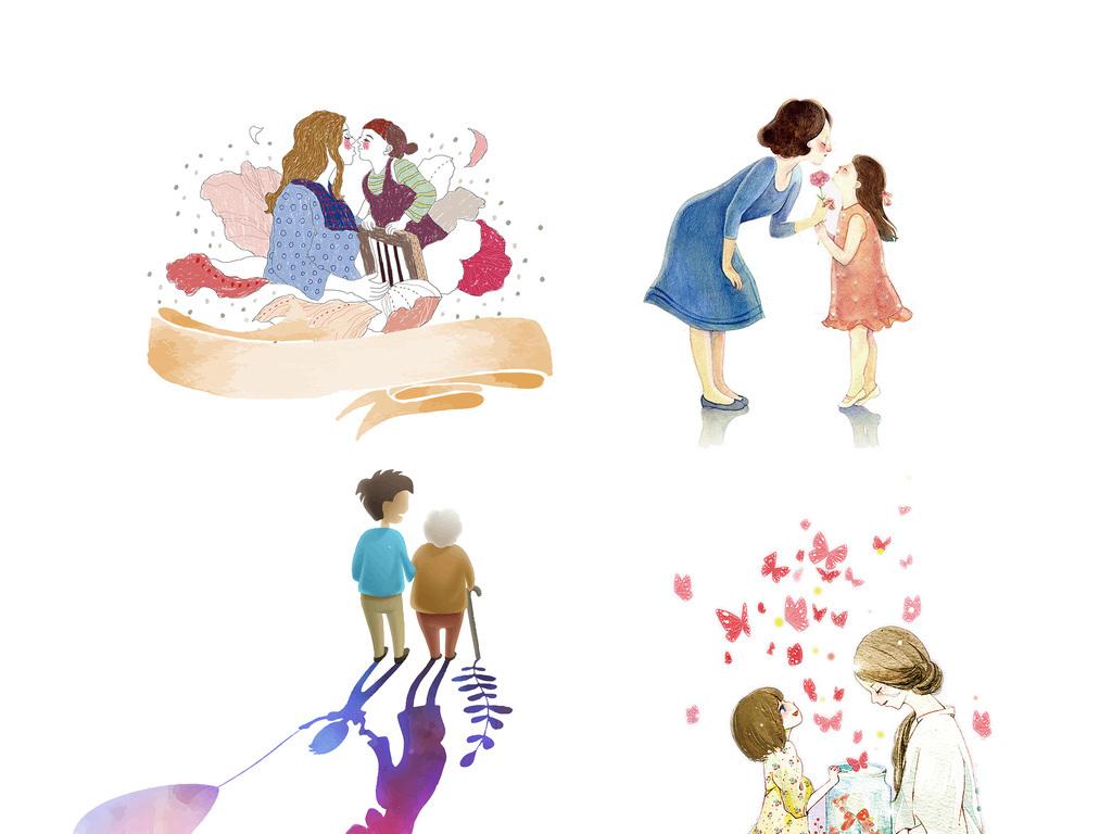插画家庭人物mother母亲节手绘生活设计元素亲节亲情