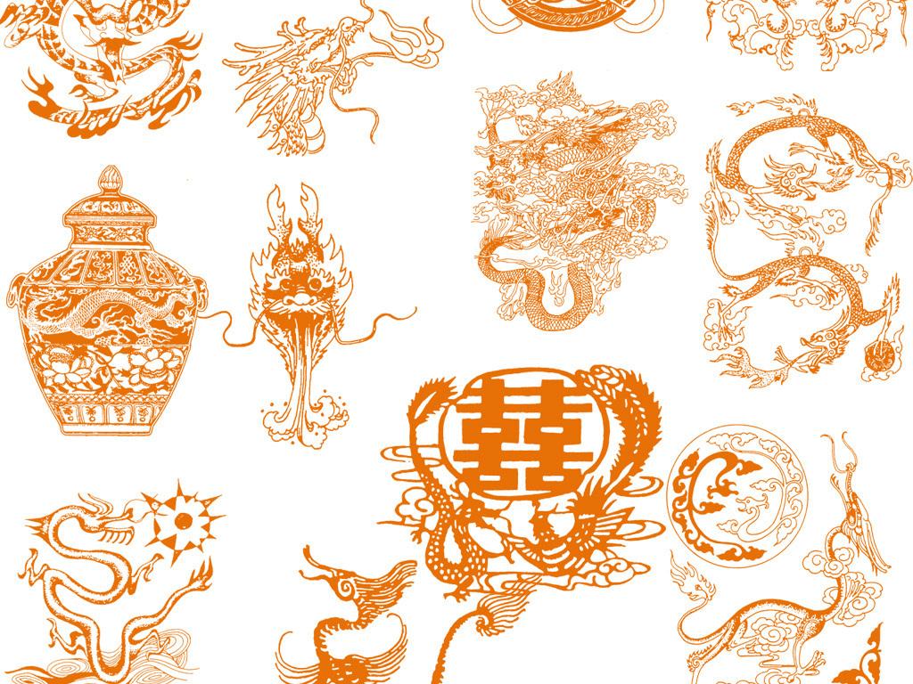花纹图案素材龙纹线描龙纹素材线描素材中国风龙纹龙中国风中国风龙