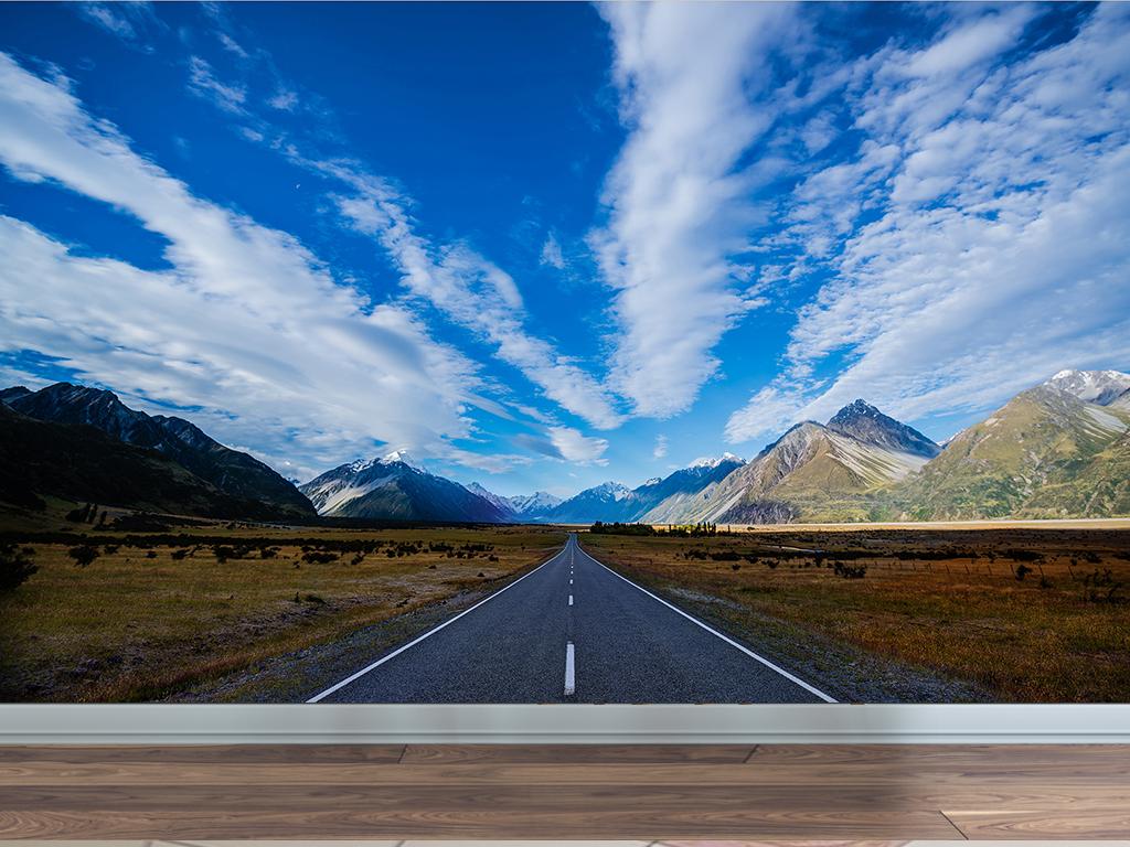公路要塞风景蓝天白云延伸隧道背景墙