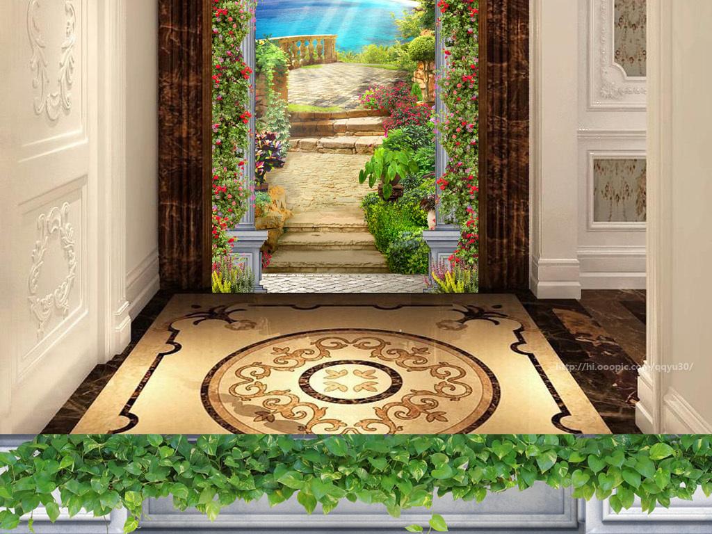 背景墙|装饰画 玄关 3d玄关 > 罗马柱花园风景3d玄关  版权图片 分享