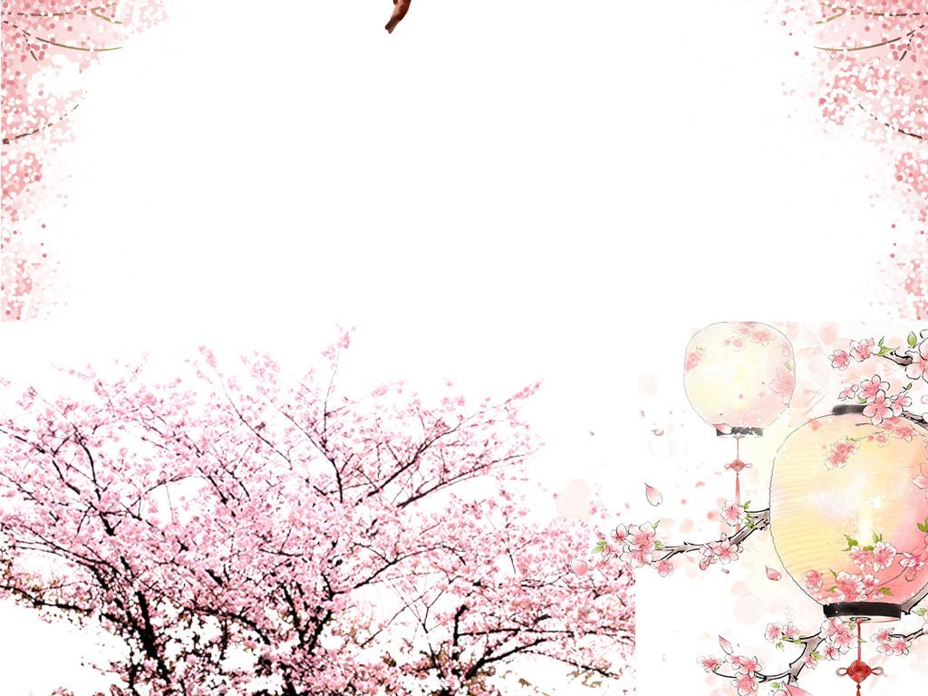 桃花枝桃花树桃花手绘
