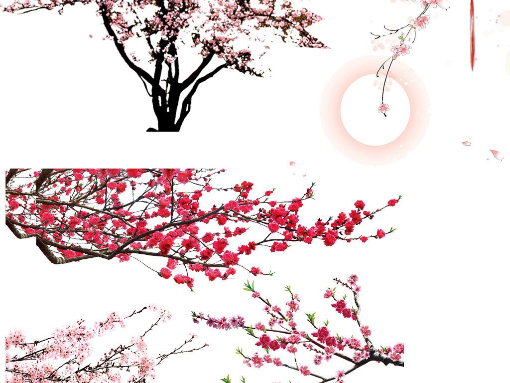 古风桃花桃花素材集合桃花素材素材桃花水墨山水水墨