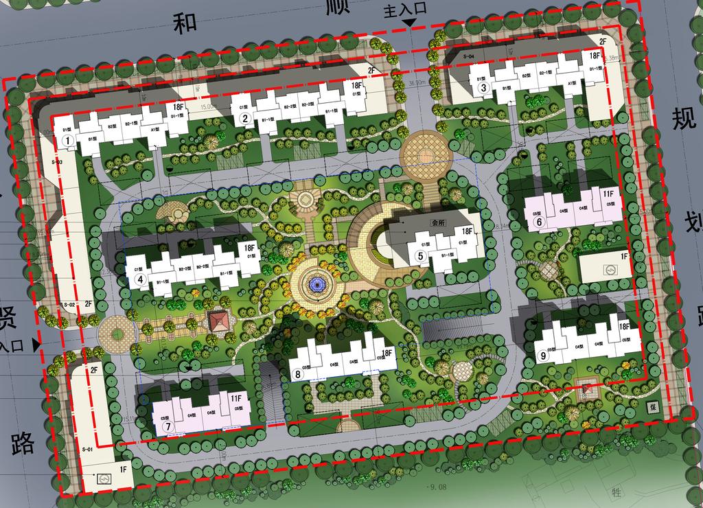 设计作品简介: 高档小区景观建筑规划psd分层彩色平面图 矢量图,,使用
