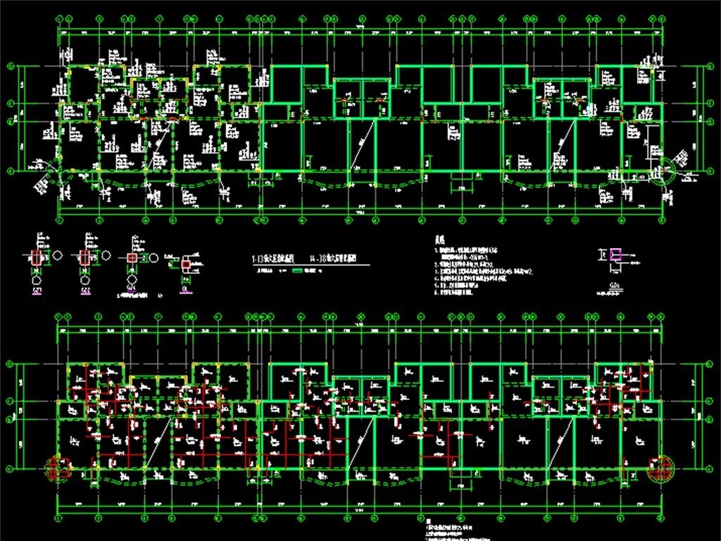 老虎窗住宅楼cad结构设计图混合结构施工图混砖结构施工施工图结构