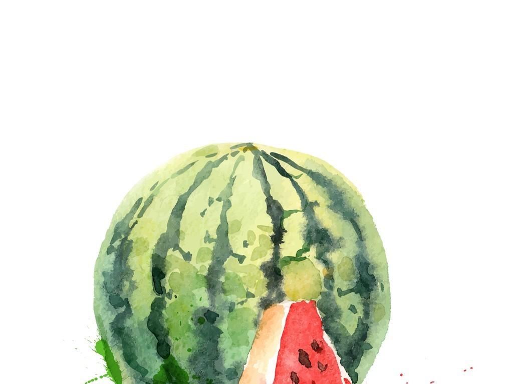 手绘水彩西瓜