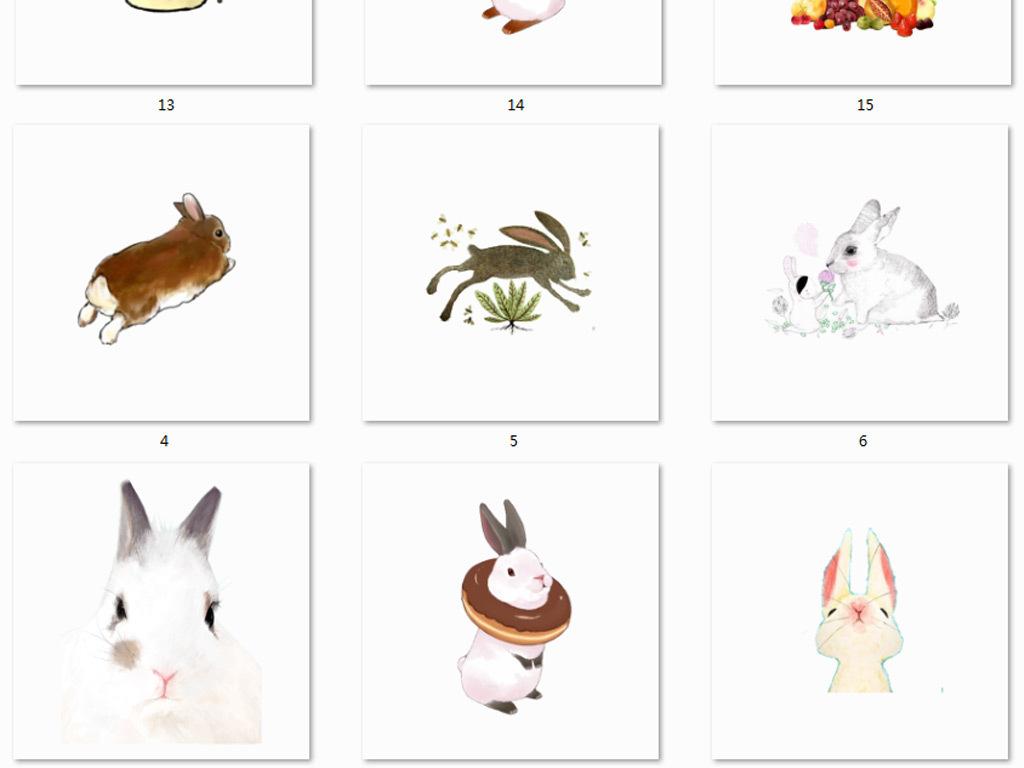 森系可爱素材水彩素材免抠素材手绘素材兔子素材图