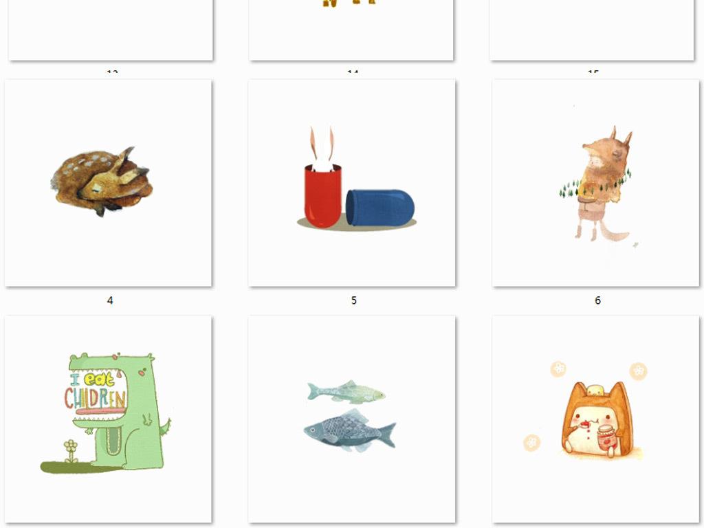 手绘水彩卡通动物png免抠图素材
