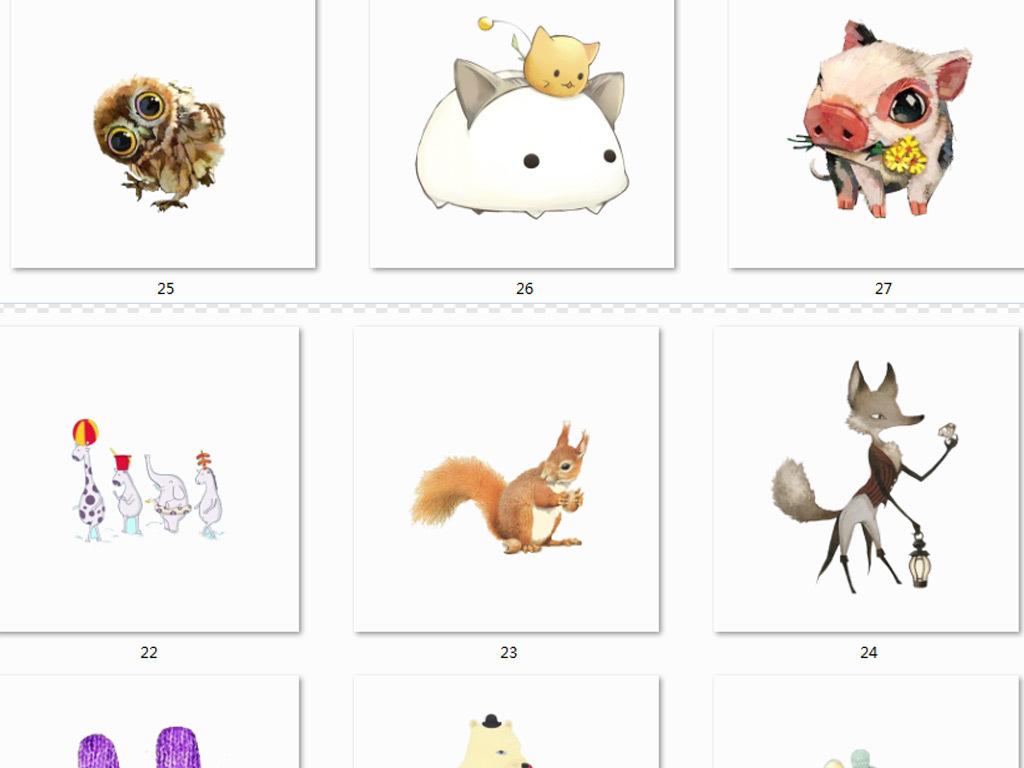 可爱北欧卡通动物动物素材手绘动物卡通素材手绘卡通