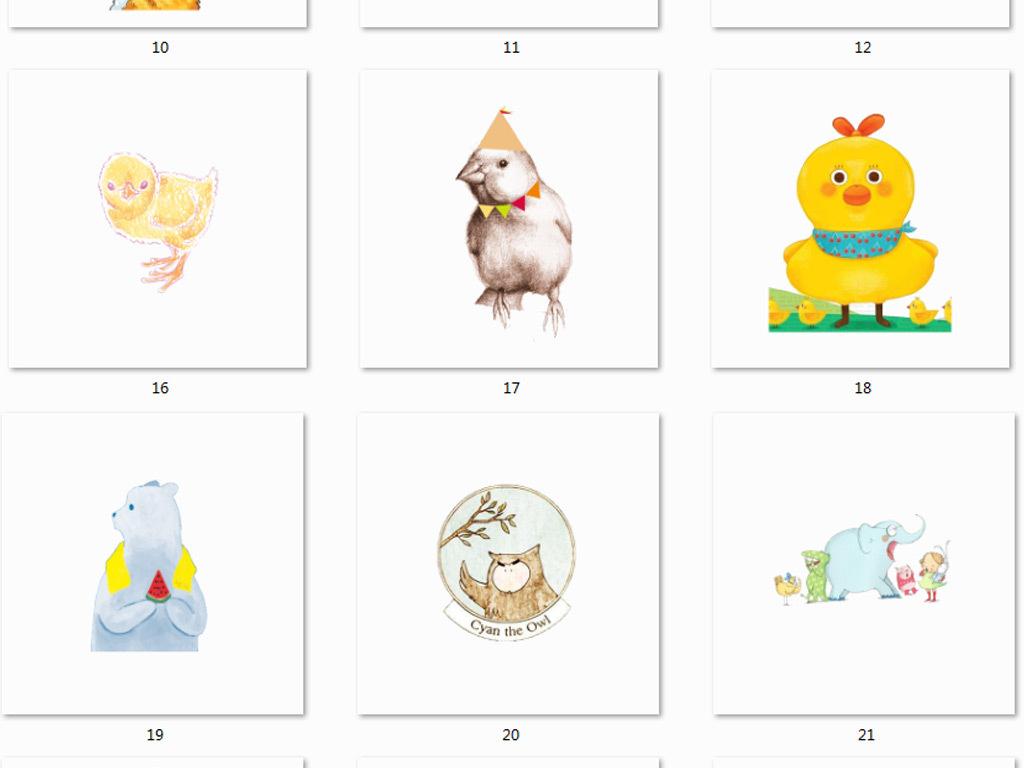 可爱北欧美式卡通动物动物素材手绘动物卡通素材手绘
