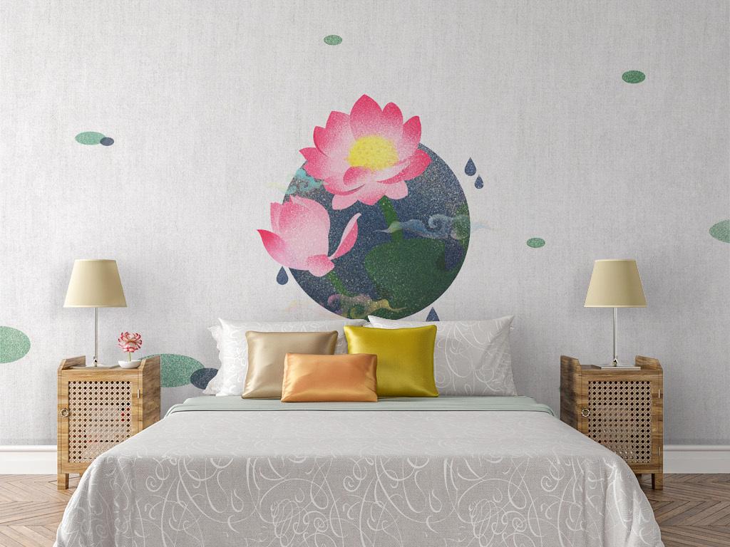 新中式中国风荷叶荷花手绘沙发背景墙