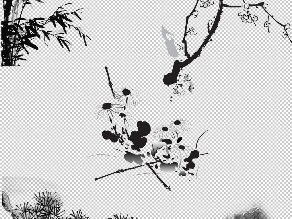 园林流水景观免扣png水墨山水山水素材山水水墨中国水墨素材中国山水