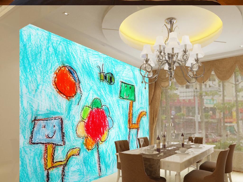 儿童婴幼儿涂鸦彩绘抽象蜡笔画卧室背景墙