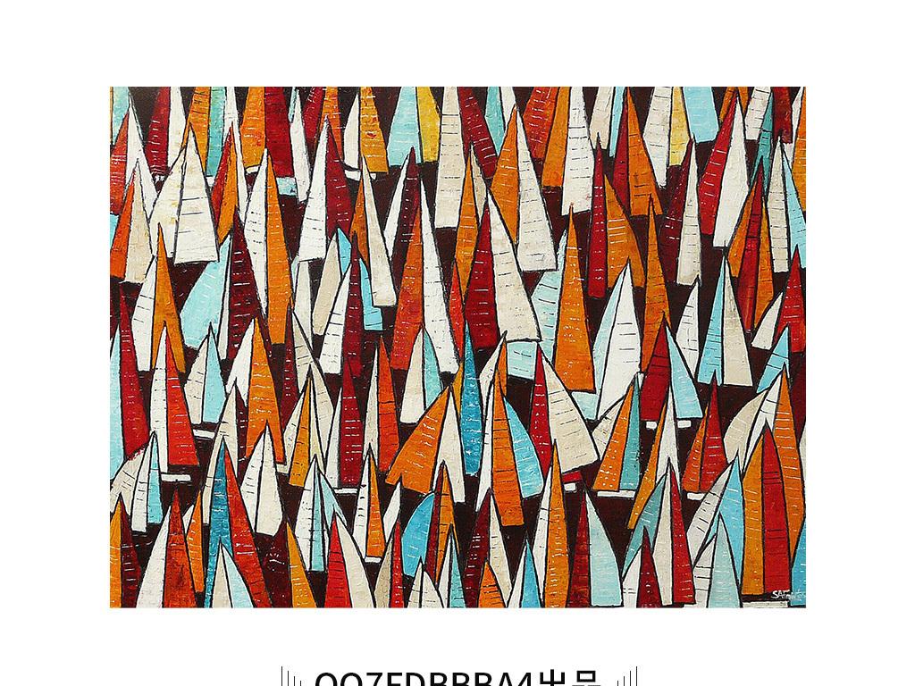 美式乡村黄色红色帆船风景装饰画