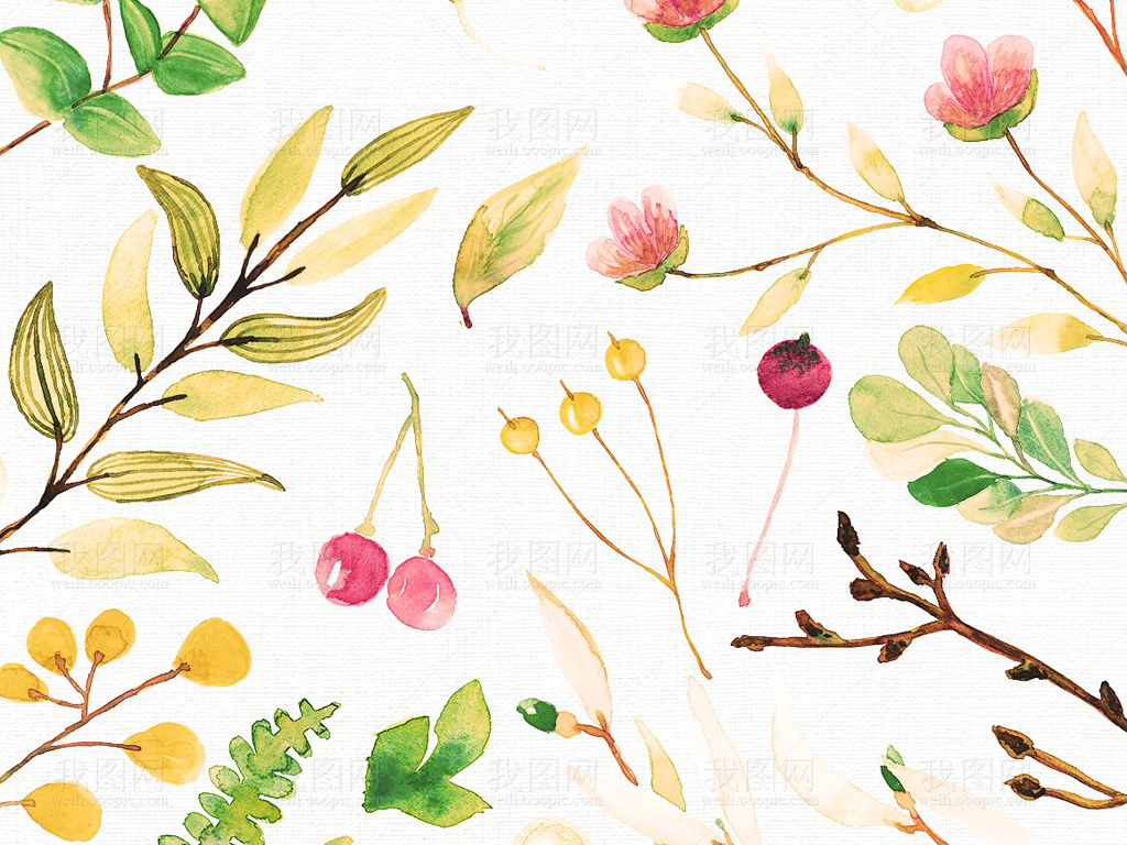 png+eps水彩植物叶子合集设计素材包图片