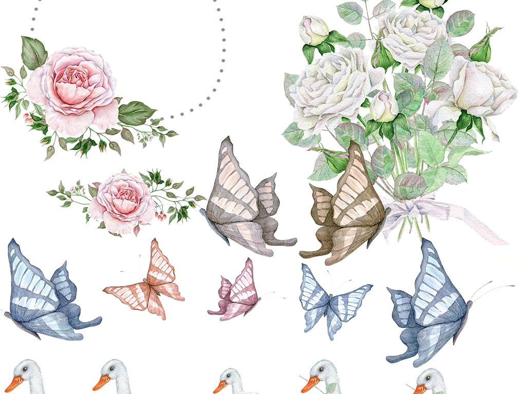 画小报素材花卉花朵水彩手绘卡通动物手绘动物玫瑰花