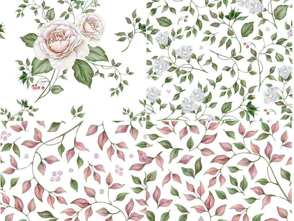 手绘动物玫瑰花水彩叶子花环水彩叶子设计素材波斯小