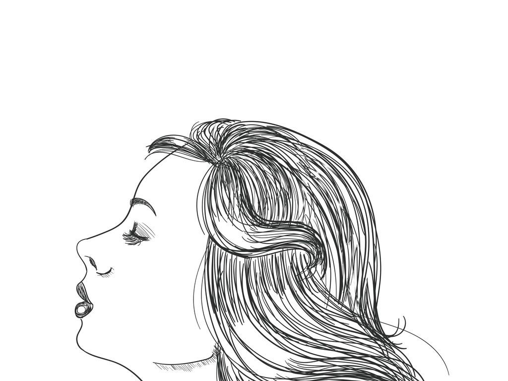手绘素描美女人物头像