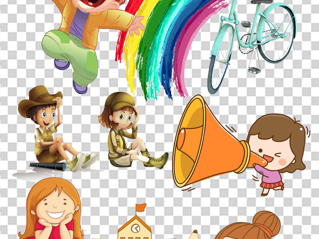 女学生开学季校园幼儿园卡通人物图片教育读书