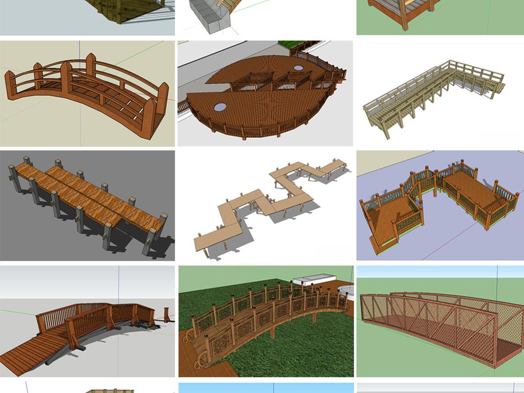 材质贴图 : 有 我图网提供精品流行景观木桥su
