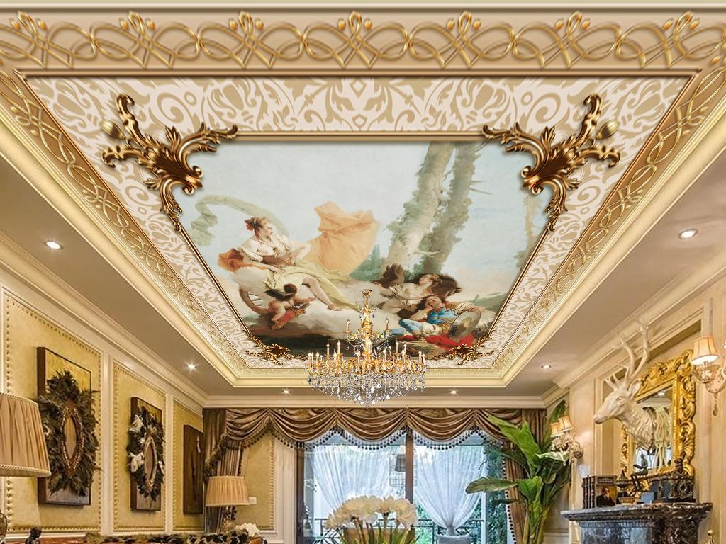 豪华欧式浮雕花纹油画客厅吊顶天顶壁画