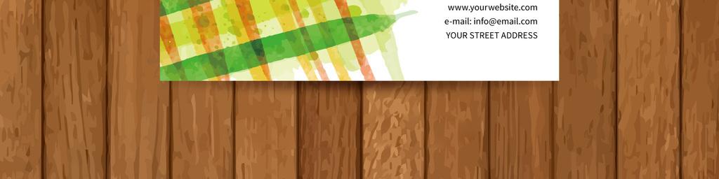 手绘简约绿色环保格调艺术商务公司个人名片