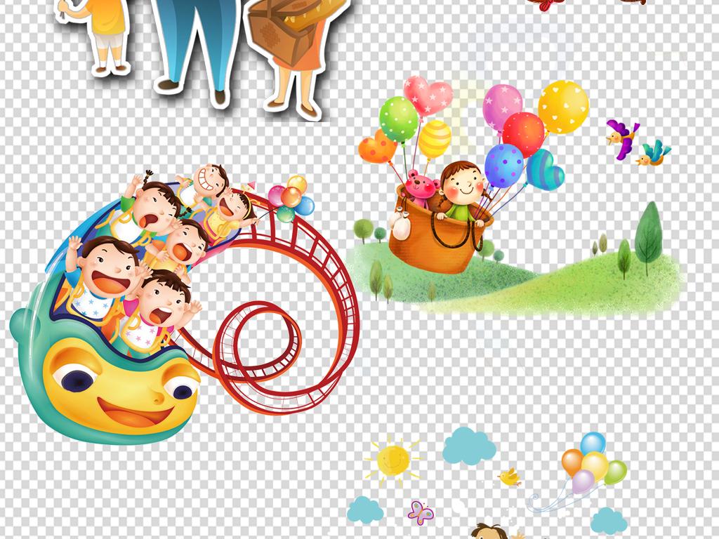人物卡通儿童小学生手拉手玩耍海报png素材