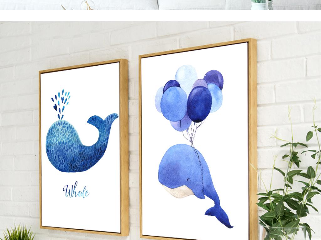 小清新可爱动物装饰画儿童房床头画餐厅画