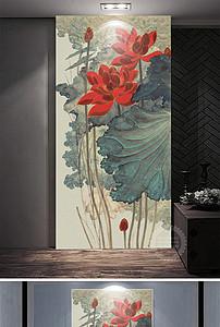 新中式红色莲花玄关装饰画 16452838 中式玄关图片