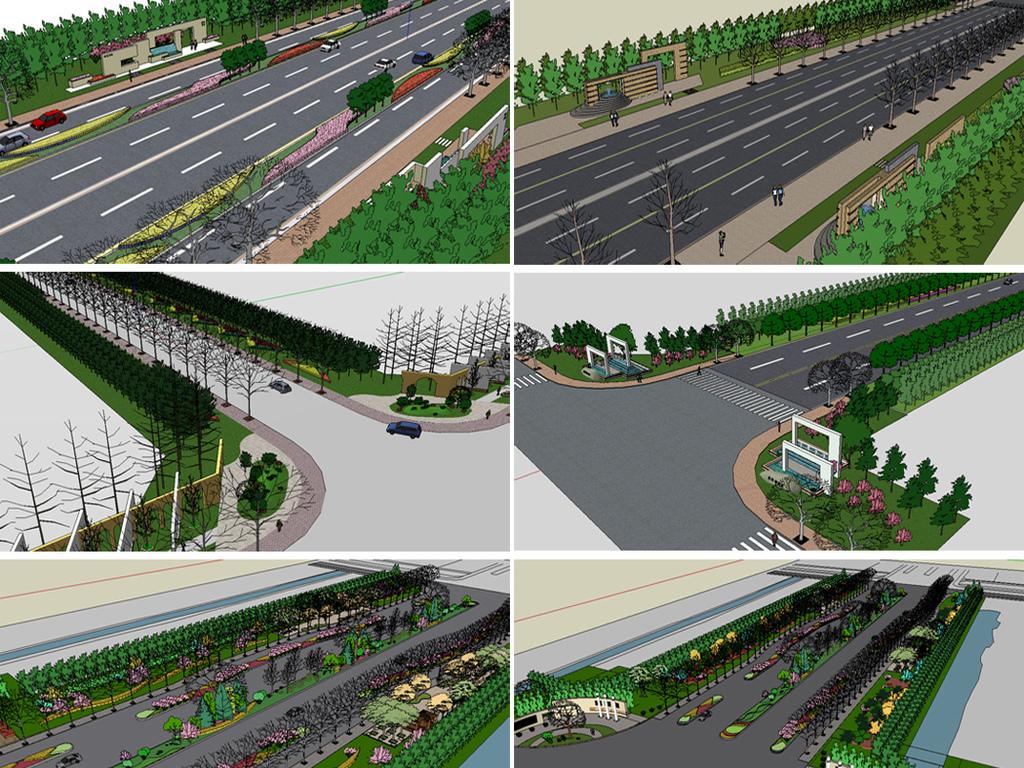 城市道路绿化设计汇集SU模型图下载 图片230.75MB 其他模型库 其他模型