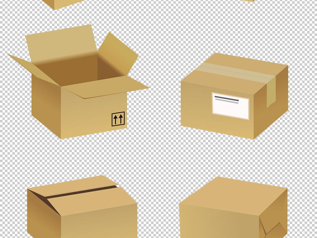 卡通矢量快递包裹纸盒子png免扣图片图片