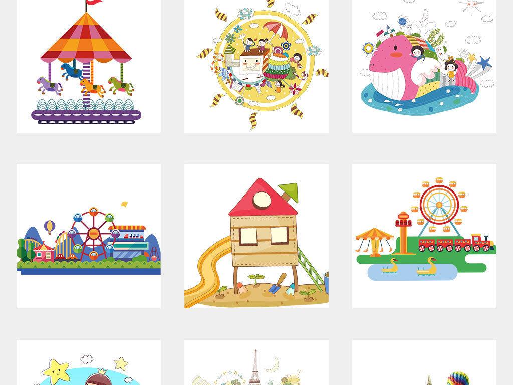 儿童乐园游乐场海报设计元素免扣素材图片