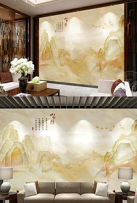 大理石纹电视背景墙中式高山流水电视墙