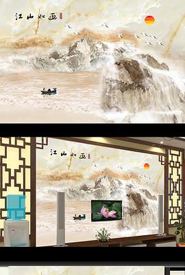 大理石江山如画巨幅山水画背景墙瓷砖装饰画