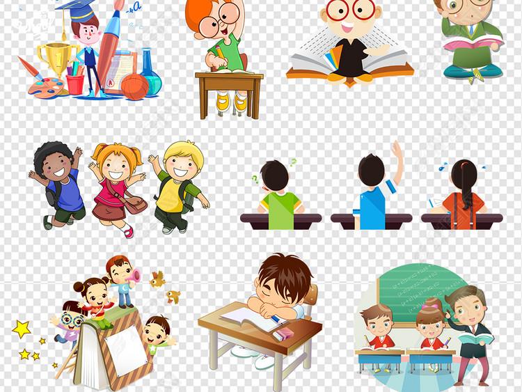 卡通儿童小学生学习上课图片素材