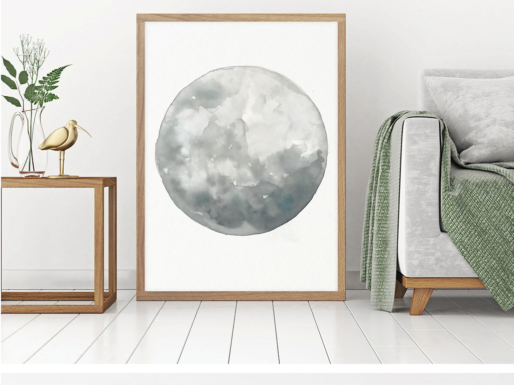 北欧月亮月球星球水彩四联简约装饰画图片下载 小清新装饰画大全 现代简约装饰画编号 16509026图片