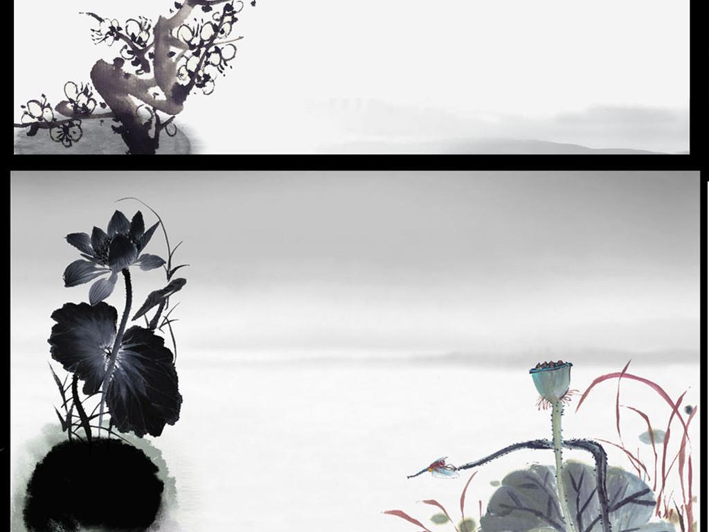 中国水墨山水古典文化PSD背景素材图片 模板下载 65.19MB 中国风边
