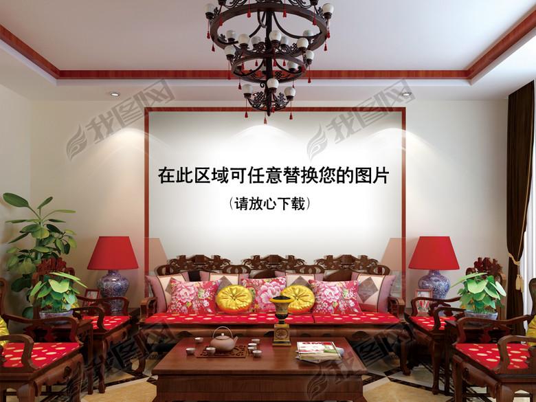 新中式客厅沙发背景场景机样