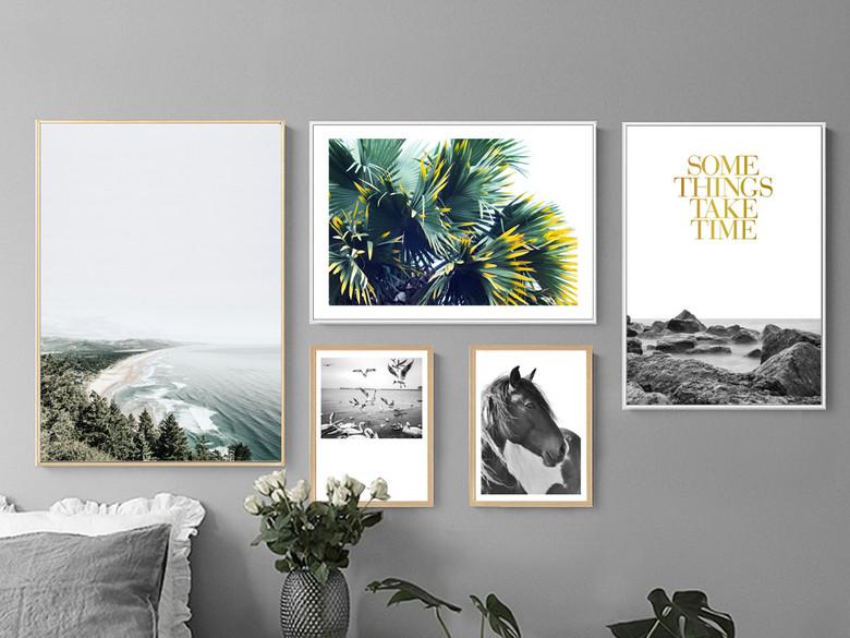 北欧风格装饰画北欧照片墙客厅相框墙现代简约组合画宜家餐厅壁画墙画装饰画