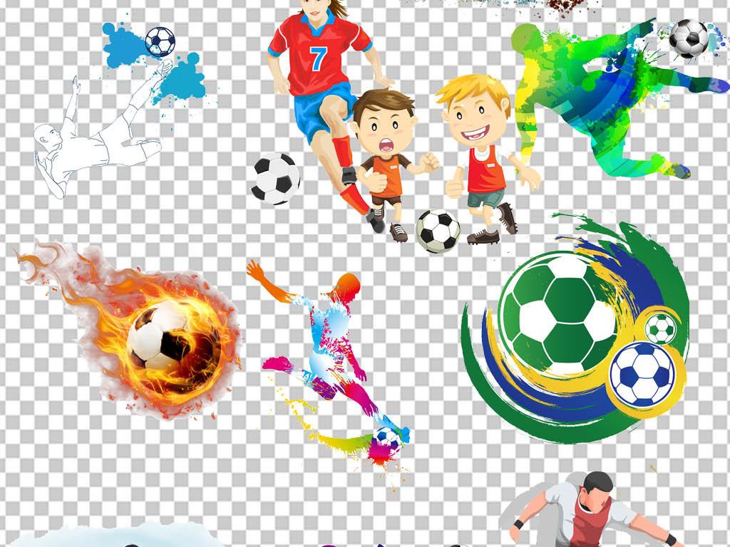 体育踢足球运动人物剪影png免抠图.