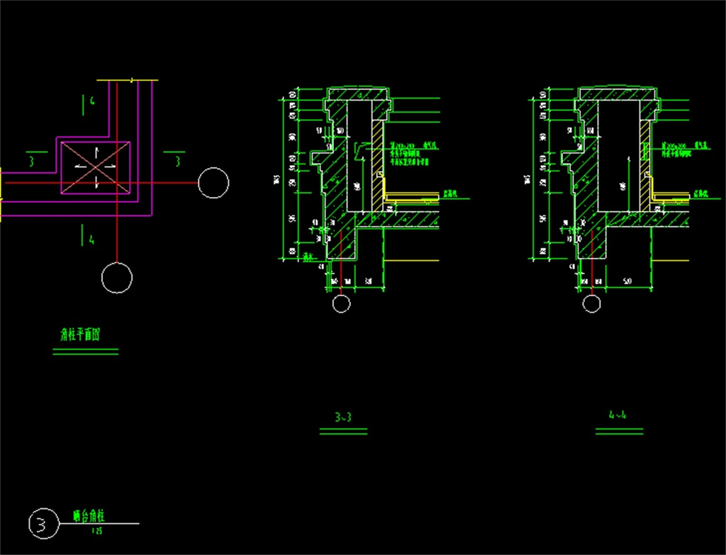 栏杆阳台及栏杆柱墩CAD施工图cad周长计算器图形图片