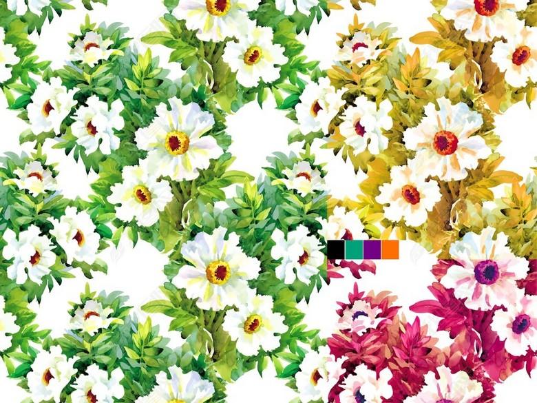 17年款时尚高清分层服装面料印花花卉