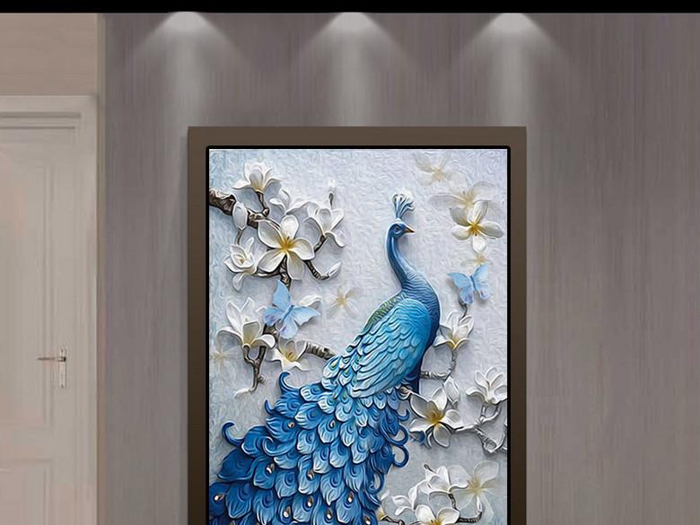 现代清新立体浮雕油画孔雀玄关背景装饰画