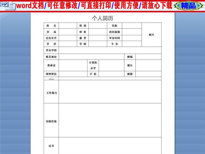 应聘教师岗位通用个人简历表格(图片编号:165