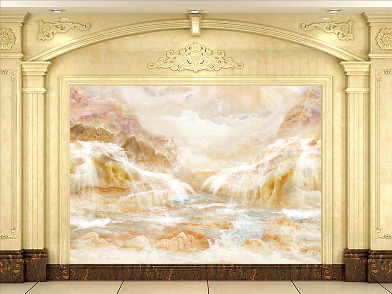 山水大理石石材石纹流水生财背景墙