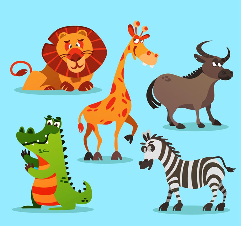5款卡通非洲动物素材图片素材 其他格式 下载 其他大全