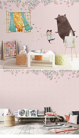 儿童房背景抽象漫画抽象小熊装饰画美克美家