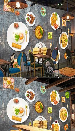 欧美手绘火锅小吃店快餐店背景墙